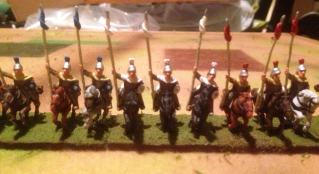 15mm Byzantine heavy horse-no horse armor so Belisarian.  I think they're Essex figures due to the bendy kontos.